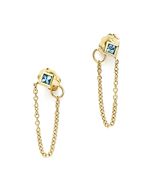 Zoe Chicco 14K Yellow Gold Draped Chain Stud Earrings with Aquamarine - 100% Exclusive