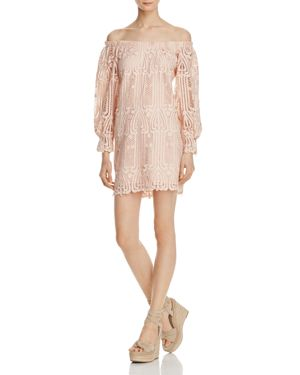 Ministry of Style Lattice Off-the-Shoulder Lace Dress