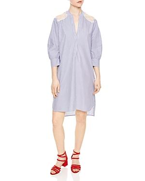 Sandro Transat Lace-Inset Shirt Dress