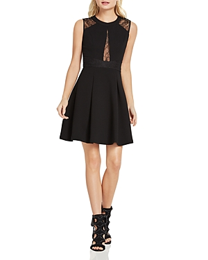 BCBGeneration Lace-Inset Fit-and-Flare Dress