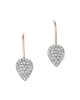 Adina Reyter - Sterling Silver and 14K Yellow Gold Pavé Diamond Teardrop Earrings