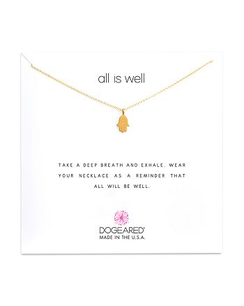 """Dogeared - All is Well Hamsa Necklace, 16"""""""