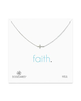Dogeared - Sterling Silver Whisper Cross Necklace, 16""