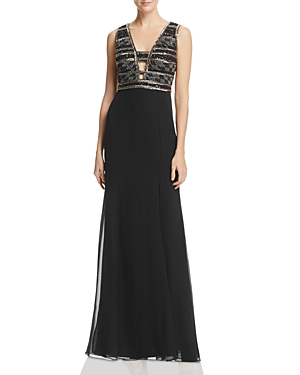 Adrianna Papell Beaded-Bodice Gown
