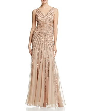 Adrianna Papell Sleeveless V-Neck Embellished Gown
