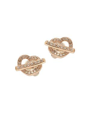 Pasquale Bruni 18K Rose Gold Make Love Pave Diamond Heart Earrings