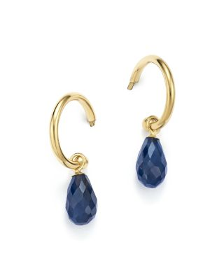 Sapphire Briolette Hoop Drop Earrings in 14K Yellow Gold - 100% Exclusive