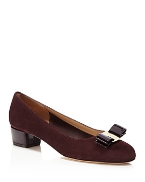 Salvatore Ferragamo Vara Suede and Patent Leather Pumps