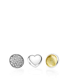 PANDORA - Charms - Sterling Silver, Sunny Citrine & Cubic Zirconia November Petites, Set of 3