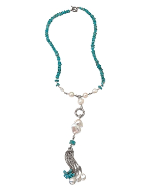 Stephen Dweck Turquoise & Pearl Tassel Necklace, 25