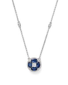 """Bloomingdale's - Blue Sapphire and Diamond Pendant Necklace in 14K White Gold, 17"""" - 100% Exclusive"""