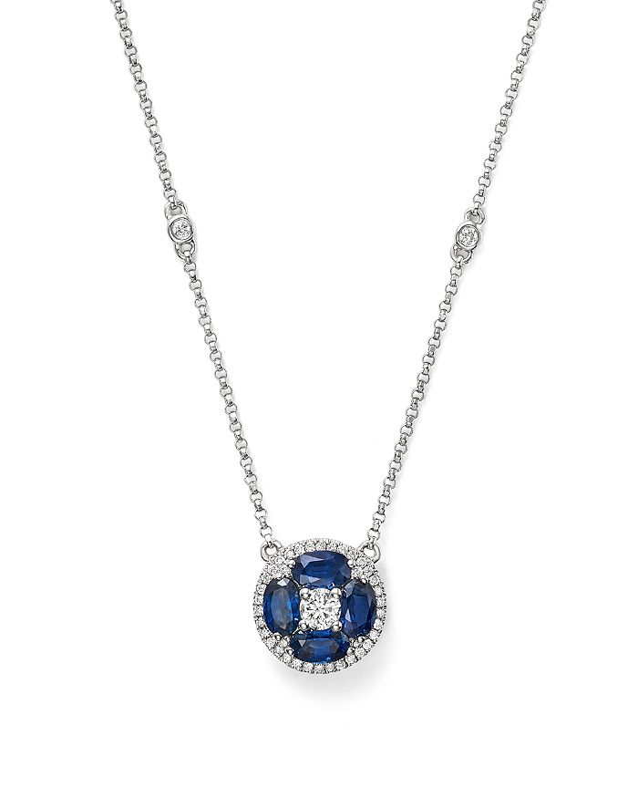 "Bloomingdale's - Blue Sapphire and Diamond Pendant Necklace in 14K White Gold, 17"" - 100% Exclusive"