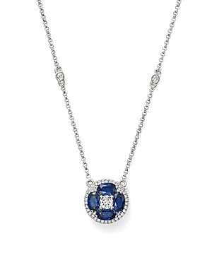 Sapphire and Diamond Pendant Necklace in 14K White Gold, 17 - 100% Exclusive