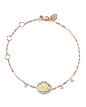 Meira T 14K Yellow, White and Rose Gold Diamond Scratch Disc Bracelet