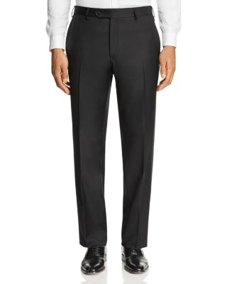 LUIGI BIANCHI Solid Classic Fit Dress Pants in Navy