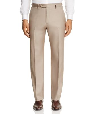 LUIGI BIANCHI Solid Classic Fit Dress Pants in Tan