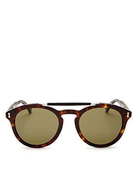 Gucci - Women's Vintage Pilot Brow Bar Round Sunglasses, 48mm