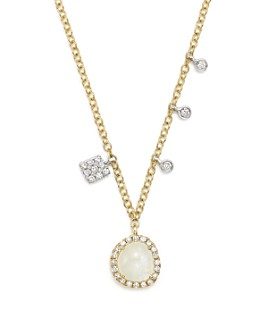 """Meira T - 14K White and Yellow Gold Rainbow Moonstone and Diamond Pendant Necklace, 16"""""""