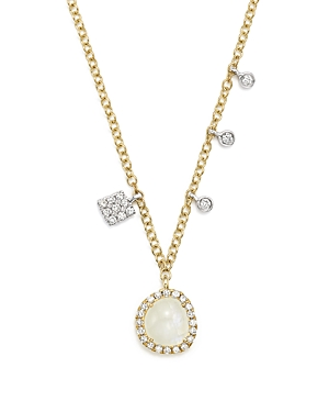 Meira T 14K White and Yellow Gold Rainbow Moonstone and Diamond Pendant Necklace, 16