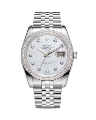 PRE-OWNED ROLEX 18K WHITE GOLD AND STAINLESS STEEL DATEJUST DIAMOND WATCH WITH MOTHER-OF-PEARL DIAL