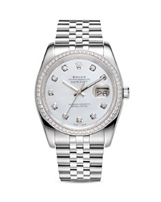 Pre-Owned Rolex - 18K White Gold and Stainless Steel Datejust Diamond Watch with Mother-Of-Pearl Dial and Jubilee Band, 36mm