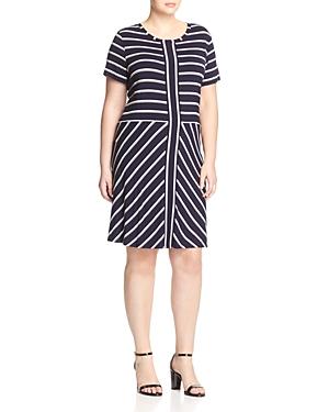 Calvin Klein Plus Short Sleeve Stripe Dress