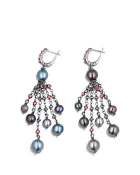 David Yurman - Bijoux Cultured Gray Freshwater Pearl Fringe Earring with Rhodolite Garnet and Hematine