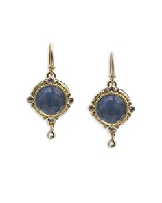 Armenta - 18K Yellow Gold and Blackened Sterling Silver Old World Blue Quartz Triplet, White Sapphire and Diamond Drop Earrings - 100% Exclusive