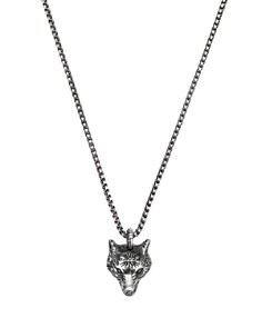 Gucci - Sterling Silver Angry Forest Wolf Pendant Necklace, 18""