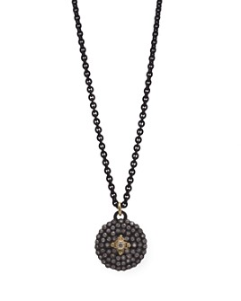 Armenta - 18K Yellow Gold and Blackened Sterling Silver Old World Diamond Shield Pendant Necklace, 20""