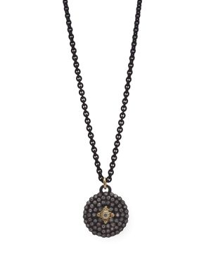 Armenta 18K Yellow Gold and Blackened Sterling Silver Old World Diamond Shield Pendant Necklace, 20