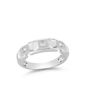 Bloomingdale's - Diamond Men's Band in Brushed 14K White Gold, .20 ct. t.w.