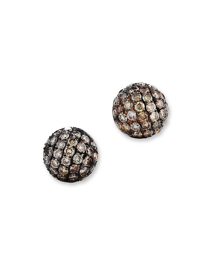 Brown Diamond Stud Earrings In 14k Yellow Gold 85 Ct T W