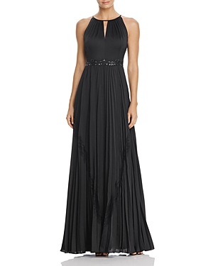 Adrianna Papell Embellished-Waist Pleated Gown
