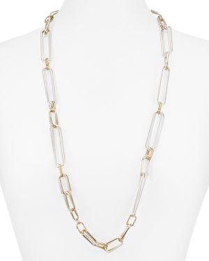 Robert Lee Morris Soho Two-Tone Link Station Necklace, 32