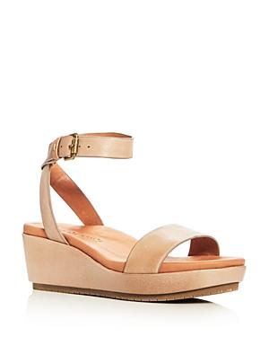 Gentle Souls Morrie Leather Ankle Strap Platform Wedge Sandals