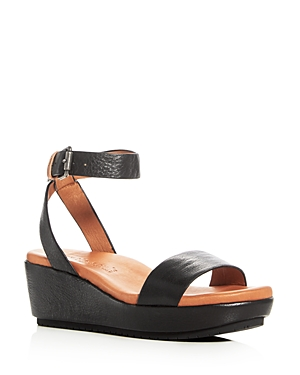 Gentle Souls Morrie Leather Ankle Strap Platform Wedge Sandals