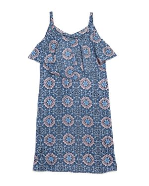 Aqua Girls' Medallion Print Ruffle Dress, Big Kid - 100% Exclusive
