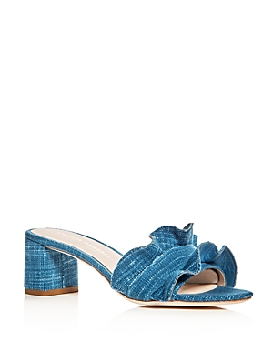 Loeffler Randall Vera Ruffle Block Heel Slide Sandals