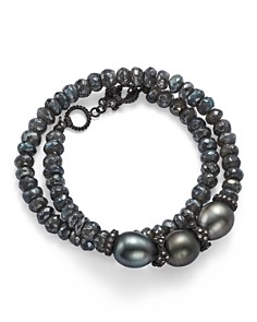 Armenta - Old World Midnight Beaded Labradorite, Tahitian South Sea Black Pearl, and Champagne Diamond Double Wrap Bracelet