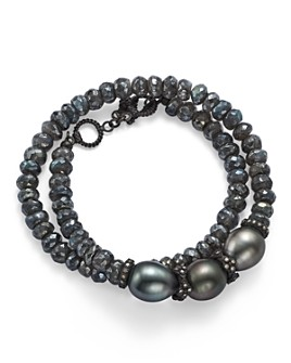Armenta - Old World Midnight Beaded Labradorite, Tahitian South Sea Black Pearl, and Champagne Diamond Double Wrap Bracelet