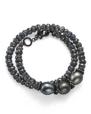 Armenta Old World Midnight Beaded Labradorite, Tahitian South Sea Black Pearl, and Champagne Diamond