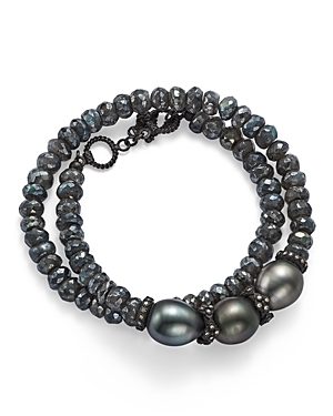 Armenta Old World Midnight Beaded Labradorite, Tahitian South Sea Black Pearl, and Champagne Diamond Double Wrap Bracelet