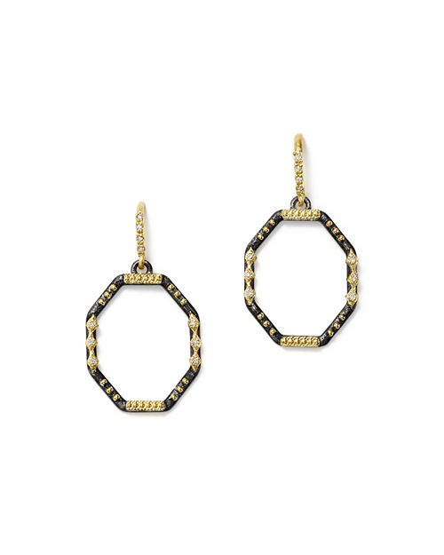 Armenta - 18K Yellow Gold and Blackened Sterling Silver Old World Diamond Octagon Drop Earrings