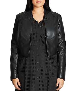 City Chic Faux Leather Cropped Jacket