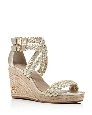 Tory Burch Bailey Metallic Leather Espadrille Platform Wedge Sandals