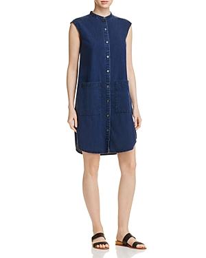 Eileen Fisher Mandarin Collar Denim Dress