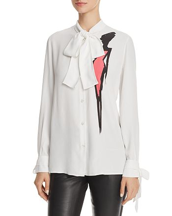 Boutique Moschino - Bow-Collar Printed Blouse