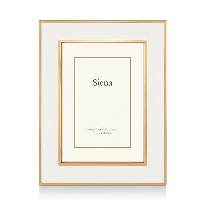 "Siena - White Enamel with Gold Frame, 8"" x 10"""