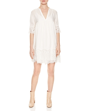 Sandro Rosalie Lace-Trim Dress